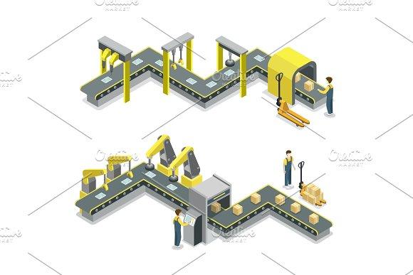 Production Line Isometric 3D Concept Set