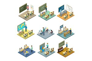 School education isometric 3D set