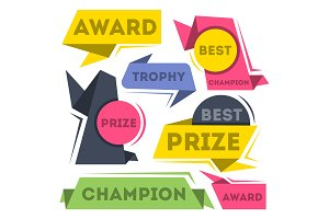 Award ribbon banners collection in flat style