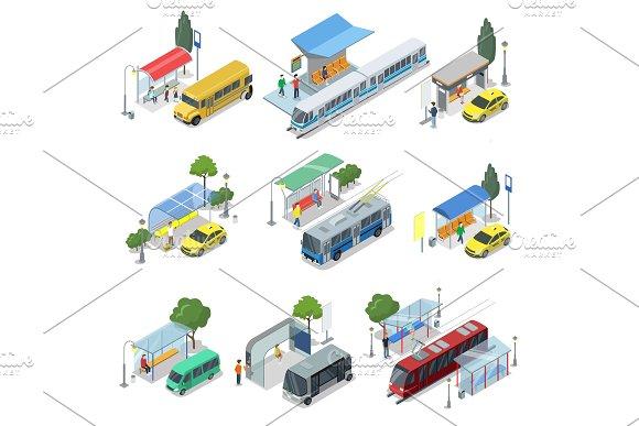 City Public Transport Isometric 3D Set