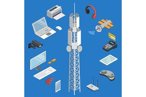Wireless technologies isometric 3D set