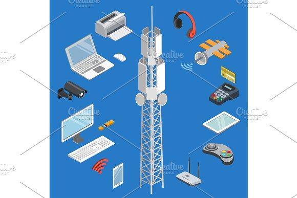 Wireless Technologies Isometric 3D Set