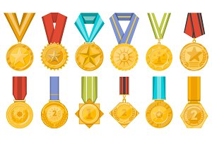 Golden medals collection with ribbons set