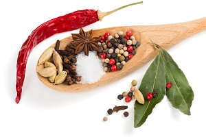 Colorful spices in spoon.