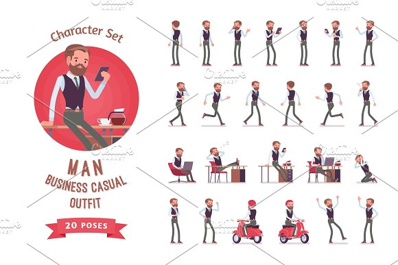 Handsome Male Office Employee Ready-to-use Character Set