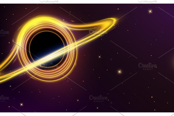 Black Hole In Space Planets In Solar System Stars In The Dark Astronomical Galaxy For Card Background Or Neon Poster For Web Supernova Light