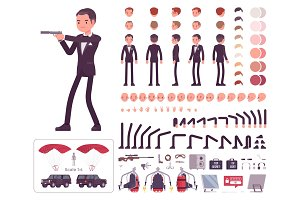 Secret agent man, gentleman spy, intelligence service character creation set