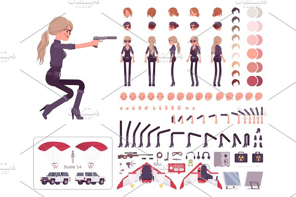 Secret Agent Woman Lady Spy Intelligence Service Character Creation Set