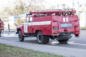 Old fire engine, fire brigade.