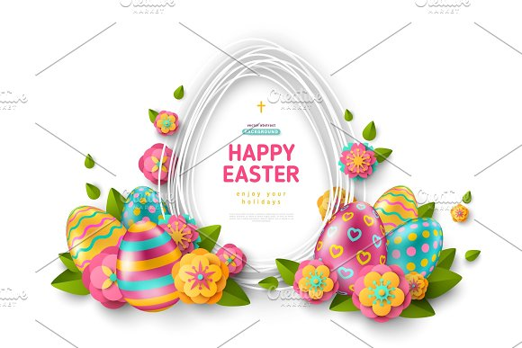 Easter Card With Frame Eggs And Flowers