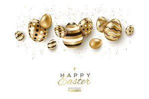 Easter horizontal border with gold eggs