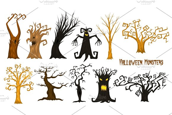 Halloween Trees Creepy Or Scary And Frightening Branches Fabulous Mythical Or Fantastic Monsters Wooden Creatures In The Forest
