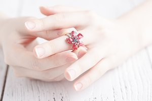 elegant ring on the woman's finger