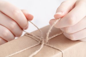 Packing gift in craft papper