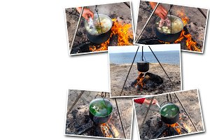 collage fish soup cooking