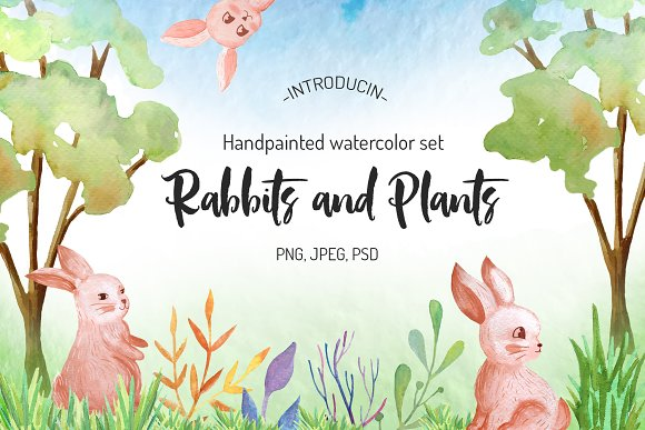 Watercolow Rabbit And Floral Set