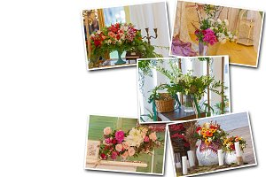 Collage unusual decor flowers