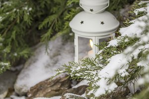 Beautiful white lantern in the snow.