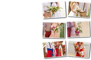 Collage  a wedding bouquet