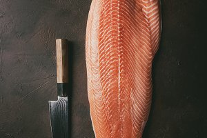 Raw salmon fillet