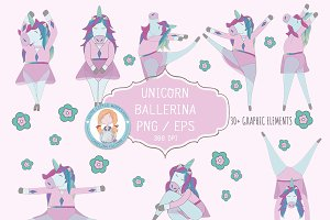 Unicorn Ballerina Vector Set