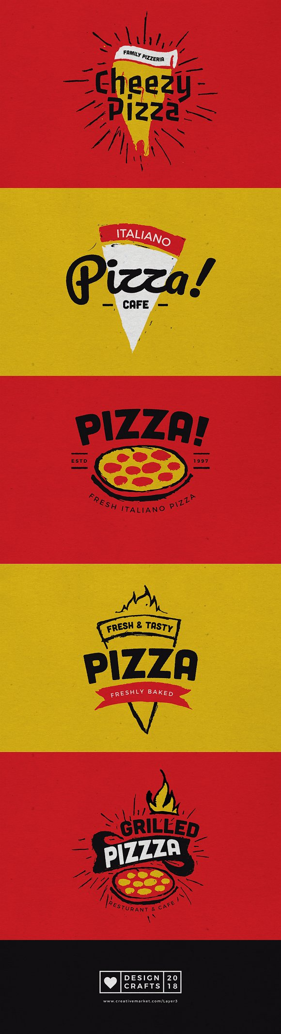 Hand Draw Pizza Logo Badges