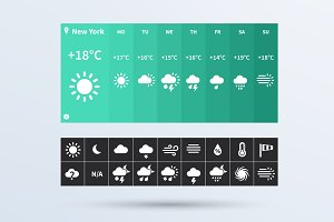 Weather Widget UI set.