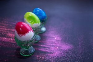 Bright color easter eggs