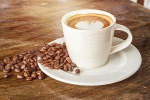 Heart-shaped pattern of coffee latte