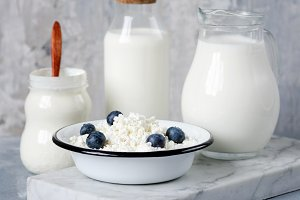 Dairy products on marble board