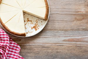 New York cheesecake on wood