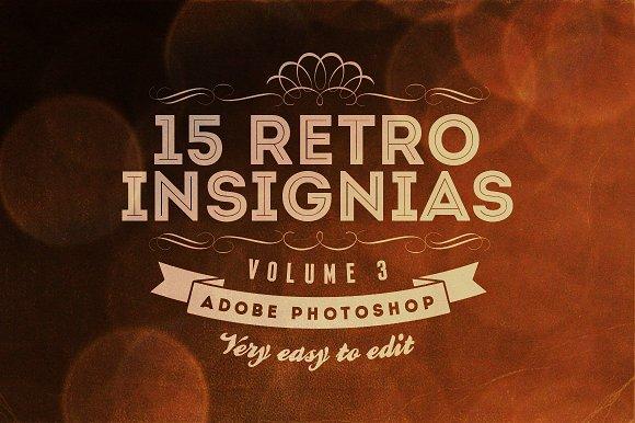 15 Retro Insignias - Badges v.3 - Objects