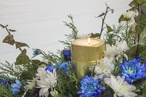 Bouquet of roses, ivy, juniper