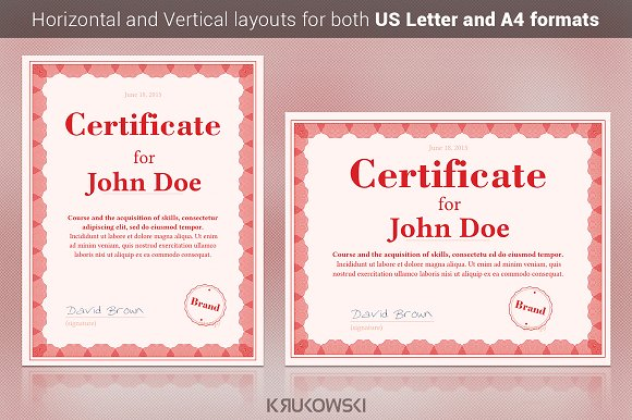 50 certificate templates to design stunning awards creative market red certificate template yadclub Images