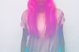 girl. neon effect
