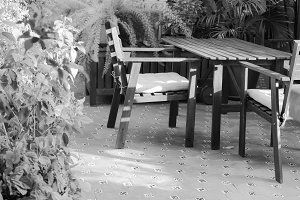 Rustic Patio Detail Black and White