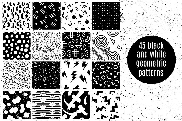 Black And White Geometric Patterns Graphic Patterns Creative Market