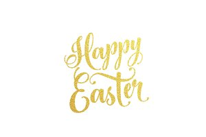 Happy Easter gold lettering text for greeting card