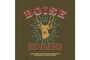 Boise, Idaho.  t-shirt graphic print