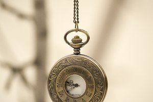 Vintage watch on a chain.