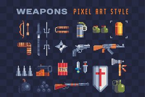 Pixel art weapons icons set.