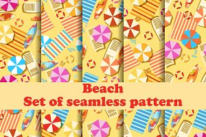 Beach seamless pattern set