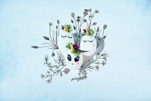Illustrated Easter unicorn eggs