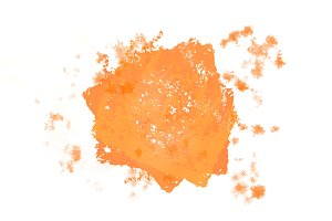 Abstract bright orange splash watercolor brush stroke