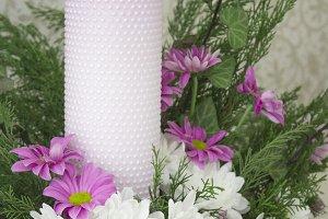White and pink chrysanthemums