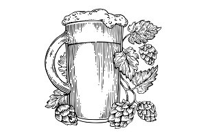 Beer and hops plant engraving vector