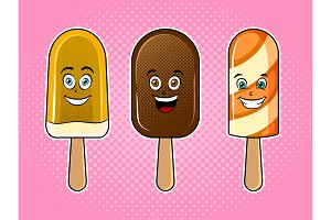 Happy ice cream pop art vector illustration