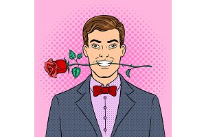 Man with rose flower pop art vector illustration
