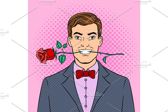 Man With Rose Flower Pop Art Vector Illustration