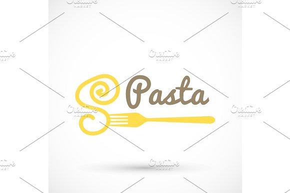 Logo Pasta And Fork Spaghetti Icon Food Design